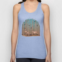Birch Trees with Birds And Deer Unisex Tank Top