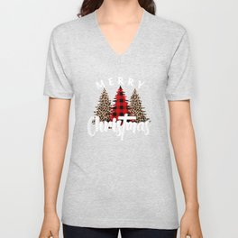 Christmas Break Merry Christmas Trio of Trees Leopard Print Tree Buffalo Plaid Tree Unisex V-Neck