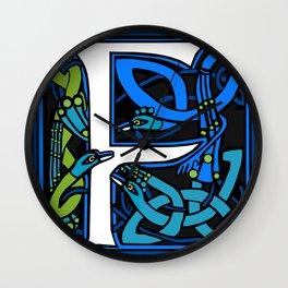 Celt Peacocks Letter F Wall Clock