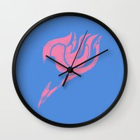 fairy tail Wall Clocks featuring Fairy Tail Segmented Logo Lucy by JoshBeck
