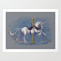 Carousel Unicorn Art Print