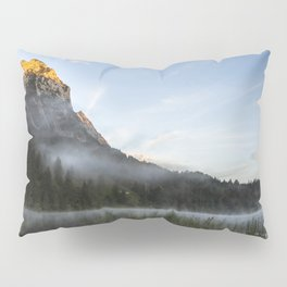 Mist on Alp mountain at Ferchensee. Amazing shot of the Ferchensee lake in Bavaria, Germany, in front of a mountain. Scenic foggy morning scenery at sunrise. Pillow Sham