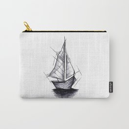 Sailboat Handmade Drawing, Art Sketch, Barca a Vela, Illustration Carry-All Pouch