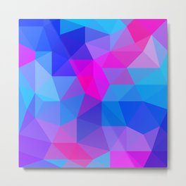 Magenta Blacklight Low Poly Metal Print