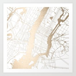 New York City White on Gold Art Print