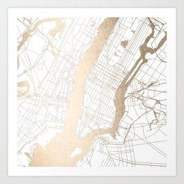 New York City White on Gold Art Print