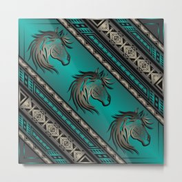 Horse Nation (Aqua) Metal Print