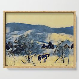 Indian Horse Pony Yellow Winter by CheyAnne Sexton Serving Tray