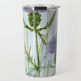 Thistle White Lace Watercolor Travel Mug