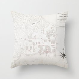 Vintage Map of New Bern NC (1769) Throw Pillow