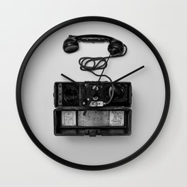 Antique Phone (Black and White) Wall Clock