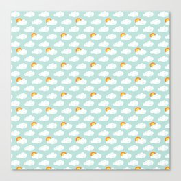 April Showers - Spring Rain Sunshine Pattern Canvas Print
