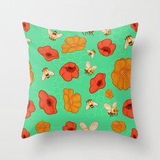 Poppies & Bees Throw Pillow