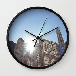 The Sun Piercing the Chicago City Skyline Wall Clock