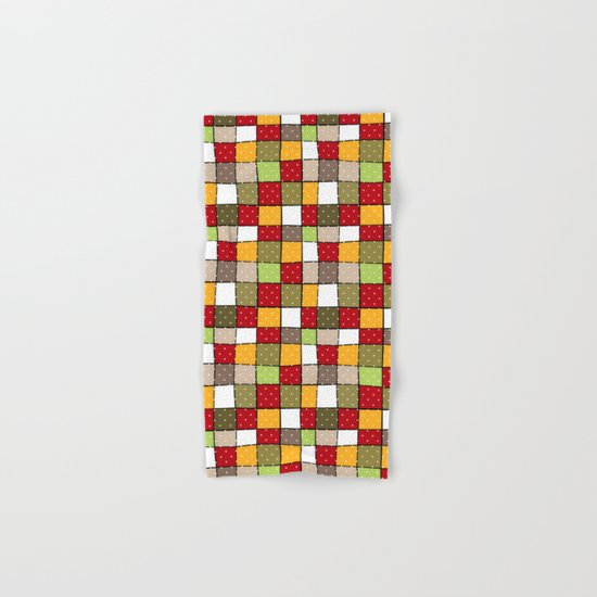 Retro . Squares with polka dots . Hand & Bath Towel