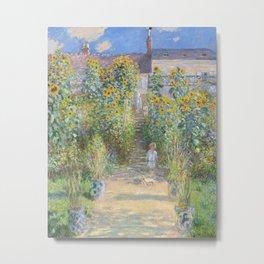 The Artist's Garden at Vétheuil (1881) by Claude Monet. Metal Print