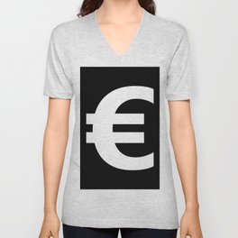 Euro Sign (White & Black) Unisex V-Neck
