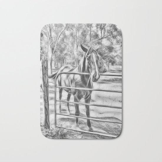 Calm horse standing near gate in Queensland Bath Mat