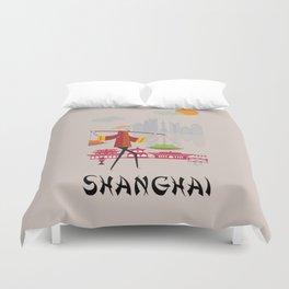 Shanghai - In the City - Retro Travel Poster Design Duvet Cover