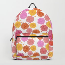Hibiscus Hawaiian Flowers in Pinks and Corals on White Backpack