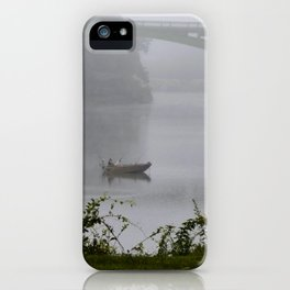 Foggy Fishing Day on the Delaware River iPhone Case