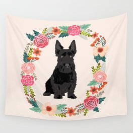 scottie dog breed floral wreath pet portrait dog gifts Wall Tapestry
