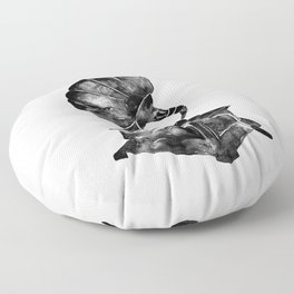 GRAMOPHONE, black and white Floor Pillow