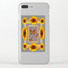 Southwestern Style Sunflowers Butterflies  Grey Ranch Design Clear iPhone Case