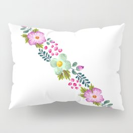 Posy ORCHID - Violet, Green AND Blue Flower Pillow Sham