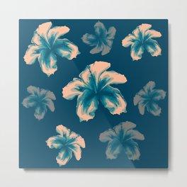 Blue halftone hibiscus Metal Print
