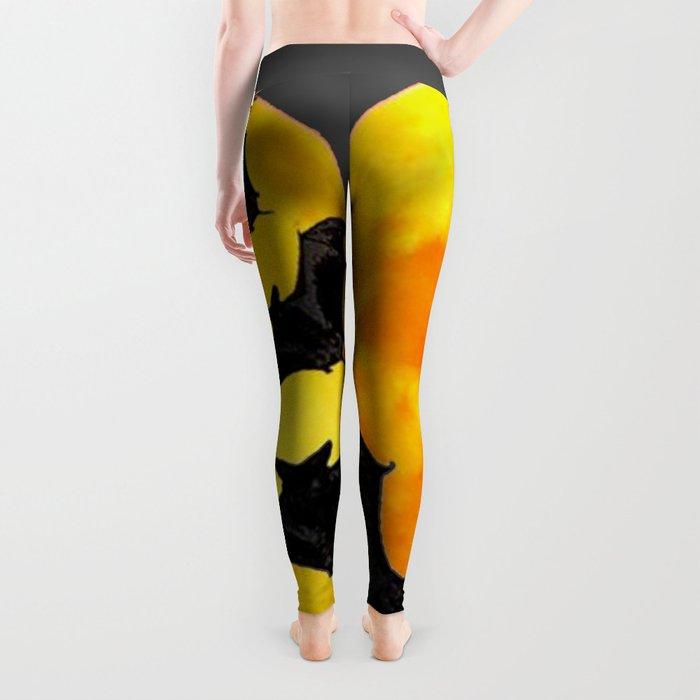 HALLOWEEN BAT INFESTED HAUNTED MOON ART DESIGN Leggings