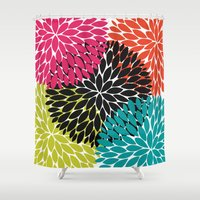 Big Tropical Flowers Shower Curtain