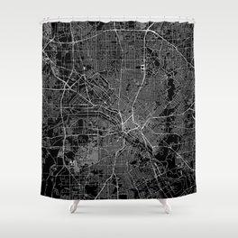 Dallas Black Map Shower Curtain