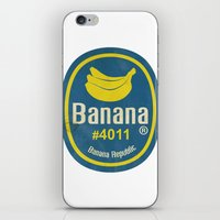 sticker iPhone & iPod Skins featuring Banana Sticker On White by Karolis Butenas