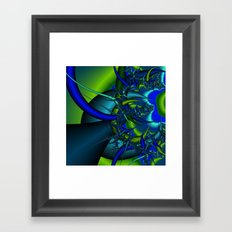 Blue  n green abstract fractal Framed Art Print