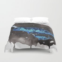 """Galaxy Narwhals"" drifting in space watercolor illustration Duvet Cover"