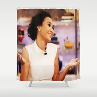 glee Shower Curtains featuring Naya Rivera by Raquel S