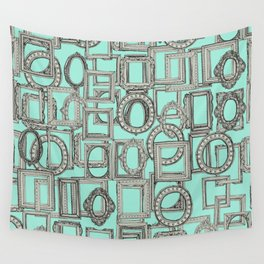 picture frames aplenty bone mint Wall Tapestry