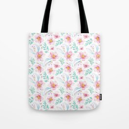 Elegant hand painted blush pink teal watercolor floral Tote Bag