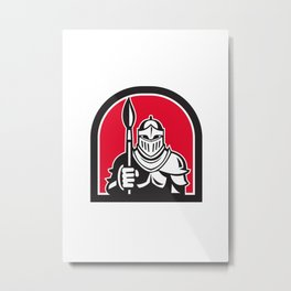Knight Full Armor Holding Paint Brush Half Circle Retro Metal Print