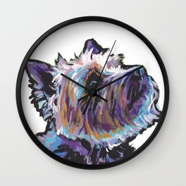 Fun Cairn Terrier Dog Portrait bright colorful Pop Art Painting by LEA Wall Clock