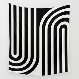 Minimal Line Curvature - Black and White III Wall Tapestry