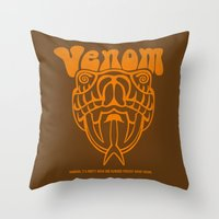 anchorman Throw Pillows featuring ANCHORMAN - Venom  by John Medbury (LAZY J Studios)