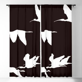 White Silhouette of Glossy Ibises In Flight Blackout Curtain