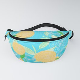 06 Yellow Blooms on Blue Fanny Pack