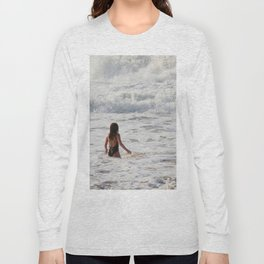 Breaking wave and girl Long Sleeve T-shirt