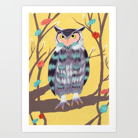 Perched Owl Art Print