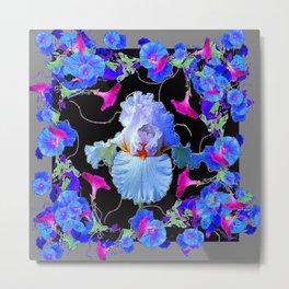 BLUE MORNING GLORIES & WHITE IRIS  SPRING  GARDEN ART Metal Print