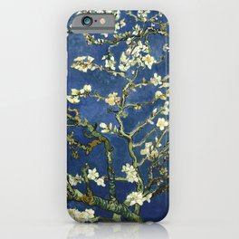 Almond Blossom - Vincent Van Gogh (dark blue) iPhone Case