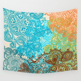 Indian boho pattern with ornament in blue, ornage and green Wall Tapestry